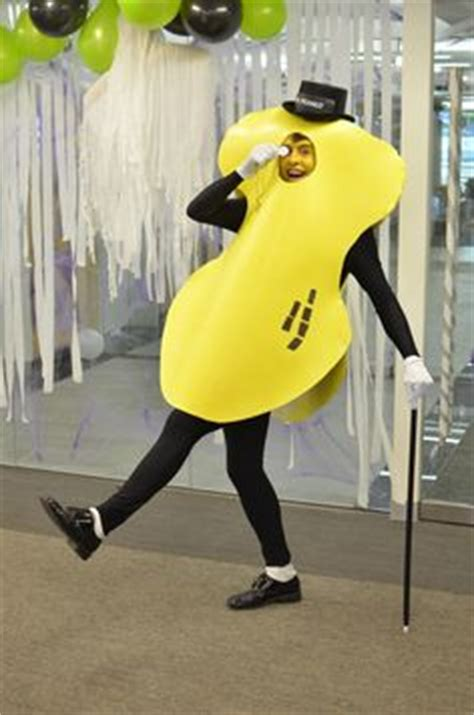 mr peanut costume made from paper mache is bamboo
