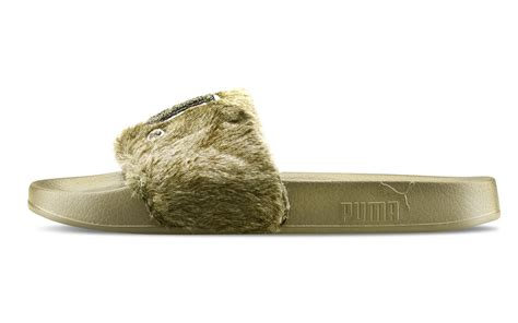Sandal Wanita Fur Slide Fenty Original leadcat fenty fur green slide sandals aw lab