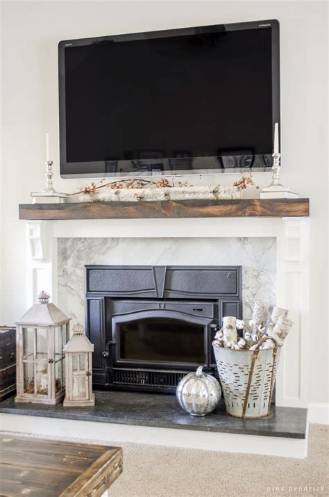 Transforming A Brick Fireplace by How To Cover Your Brick Fireplace Modern Farmhouse Style