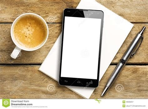 coffee wallpaper for smartphone smartphone blank screen coffee pen notepad stock image