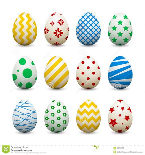 design pattern to create objects set of 3d eggs with different patterns for easter stock