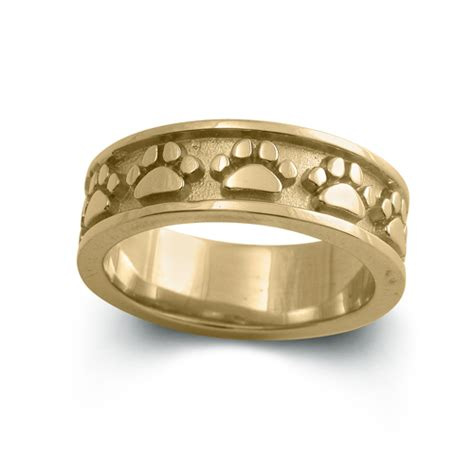 paw ring 14k gold paw print band solid