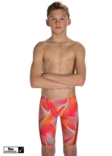 speedo boy speedo fastskin junior lzr racer x jammer lava red