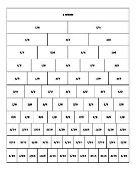 printable number strips 1 20 equivalent fractions strips printable quotes