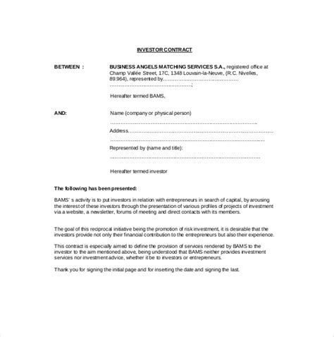 free contract agreement template 9 investment agreement templates free sle exle
