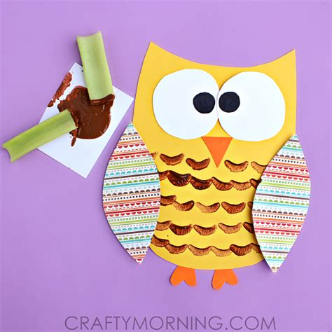 owl craft celery sted owl craft for crafty morning