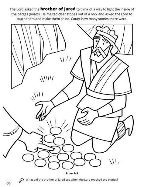 lds coloring pages lehi the brother of jared sees the finger of the lord