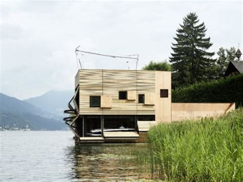 lake view house boats energy efficient boat house rises like a reed from austria