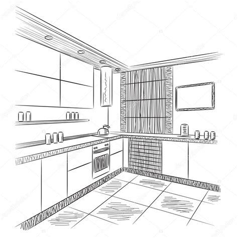 keuken tekening keuken interieur tekening stockvector 169 yuliia25 92598958