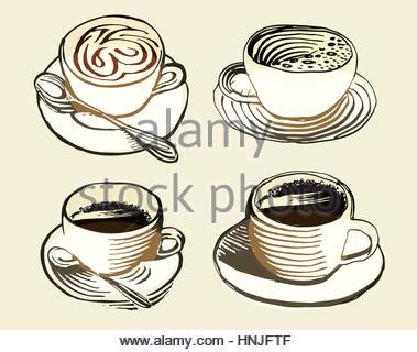isolated brown color cup in retro style background coffee shop vector illustration of breakfast collection in line art