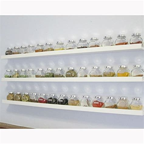 Floating Spice Rack Wall Mount Spice Rack Floating Shelf Wood White 46 Inch