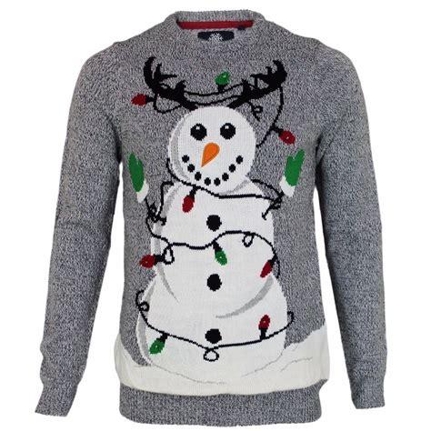 Mens Threadbare Novelty Light Up Tangled Snowman Pullover Novelty Light Up Jumpers