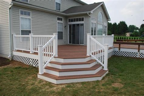 Deck Stairs Design Ideas by Deck Designs Redwood Deck With Flared Stairs