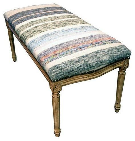 blue upholstered bedroom bench pre owned bench upholstered with blue and white kilim