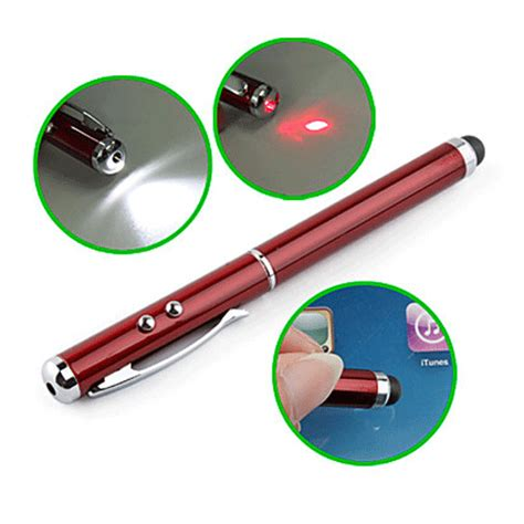 Stylus Pen With Laser Pointer T0210 2 stylus pen with laser pointer and led light for all tablet pc la itp014 maroon