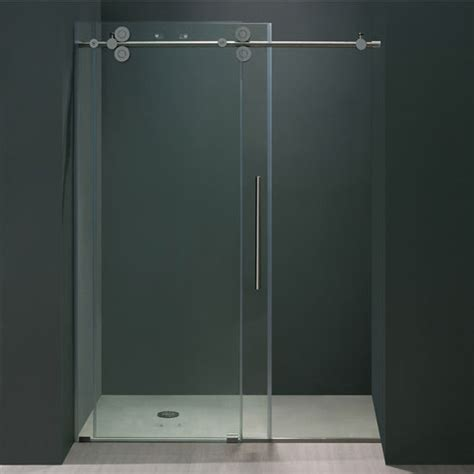 Glass Shower Door Thickness 52 Frameless Shower Door 3 8 Thick Clear Tempered Glass And Chrome Or Stainless Steel