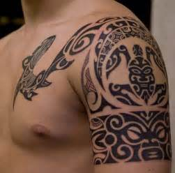 tribal mask and turtle shoulder polynesian tattoo