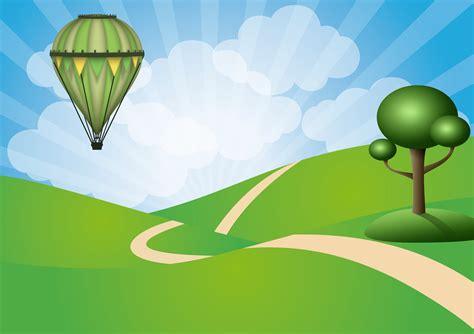 wallpaper awan kartun gambar pohon balon udara angin terbang hijau
