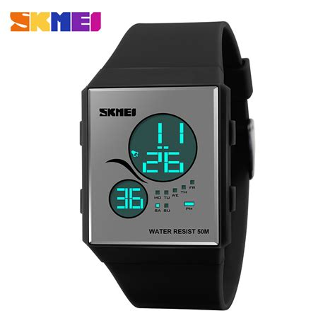 Jam Tangan Sport Led Water Resistant 50 M By Skmei 1040 skmei sport silicone led water resistant 50m dg1169 black jakartanotebook