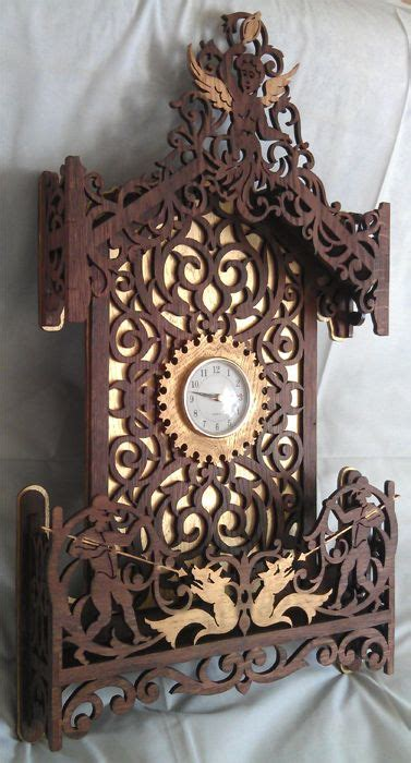 cherub clock scroll  fretwork pattern clock scroll