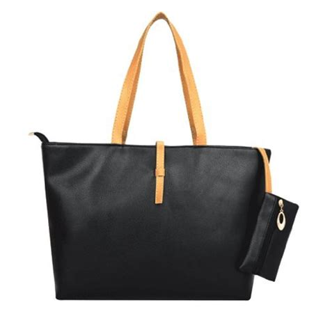 Fashion Tote Anyanna Classic Ac1742 aesthetic official classic fashion leather tote bags with coin wallet black