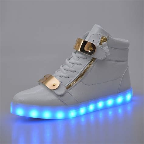 light up sneakers greatjoy led shoes metal velcro high top light up