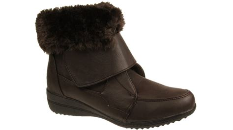 winter fur lined velcro fastening wedge ankle boots