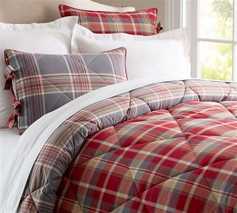 plaid bedspreads and comforters bowman plaid comforter sham pottery barn