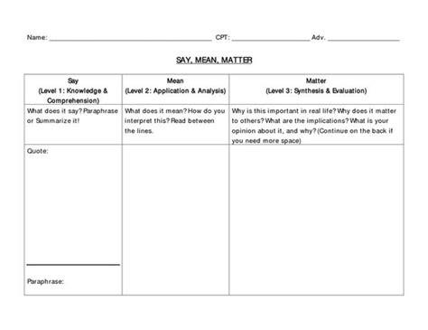 page 1 say mean matter worksheet teacher pinterest