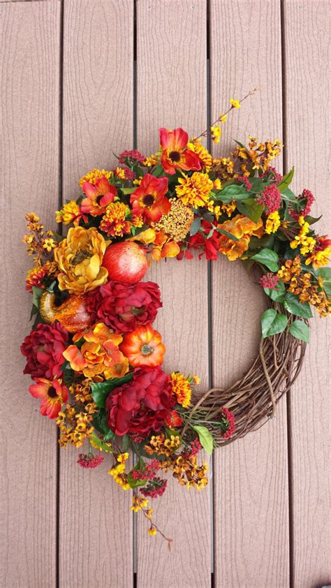 decorative wreaths for the home large fall wreath front door decor pommegranate wreath large