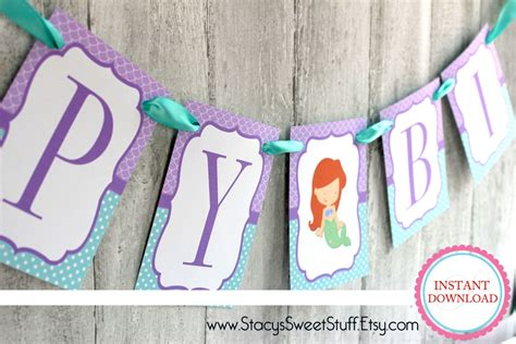 mermaid inspired birthday banner diy printable instant ariel banners and