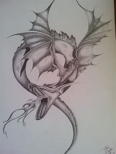 fantasy dragon pencil drawing realistic by