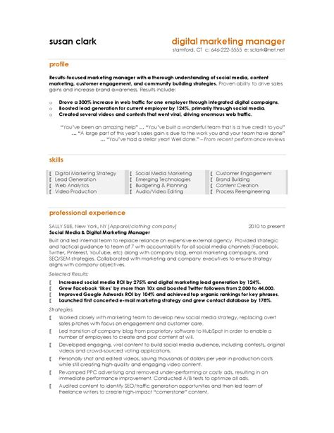 marketing executive sle resume resume format for marketing profile ideas marketing