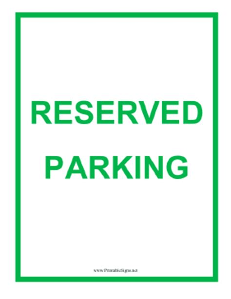 Printable Reserved Parking Sign Pictures To Pin On Pinterest Pinsdaddy Printable Reserved Parking Sign Template
