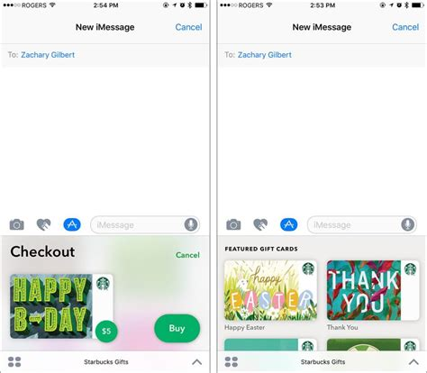 Starbucks Send Gift Card - starbucks imessage app lets you send digital gift cards with apple pay