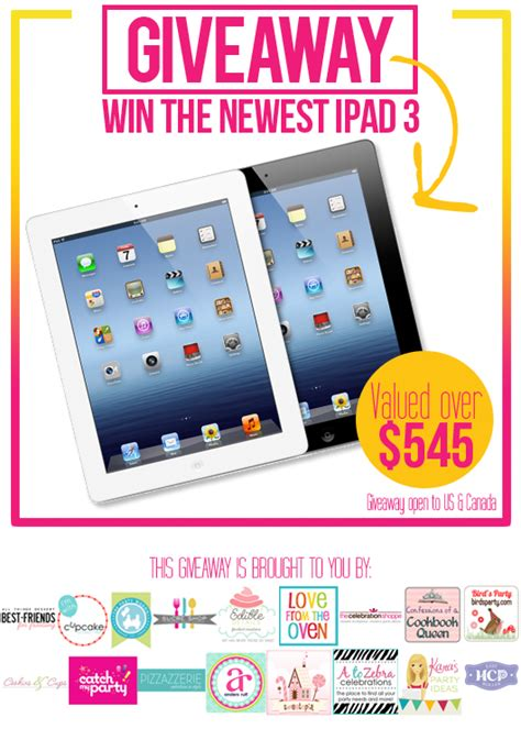 Giveaway Ipad - giveaway win an ipad 3 pizzazzerie