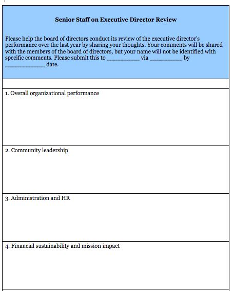 Executive Director Evaluation Survey Form Blue Avocado Executive Performance Review Template