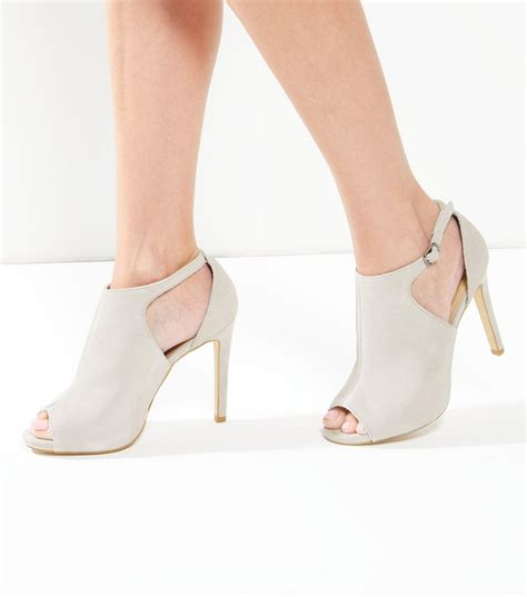 New look Grey Suede Cut Out Peep Toe Heels in Gray   Lyst