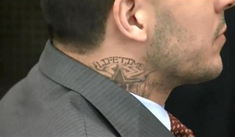 tattoo on neck gang aaron hernandez got a neck tattoo in prison larry brown