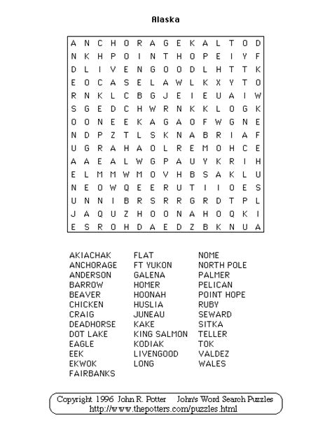 Alaska Search Alaska Wordsearch