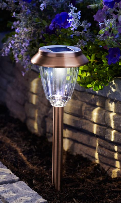 Solar Powered Landscaping Lights Moonrays 91743 Hudson Solar Powered Metal 2x Led Path Light Pearl Bronze 6 Pack Landscape