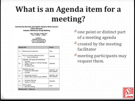 what is an agenda agenda item for a meeting
