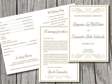 half fold wedding program template fold wedding program template gold program