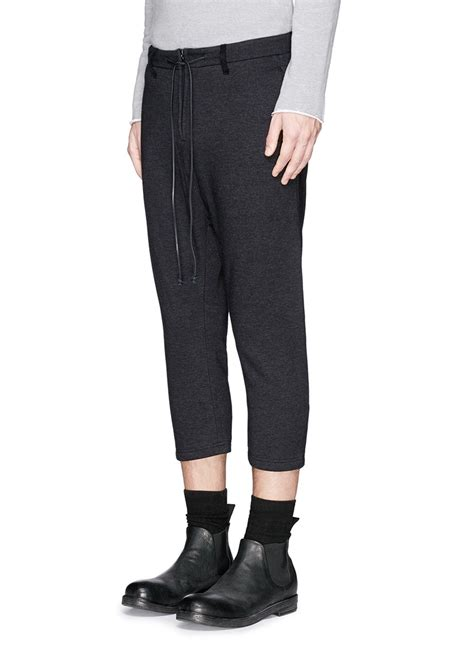 Drawstring Cropped Sweatpants attachment leather drawstring waist cropped sweatpants in