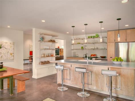 single wall open kitchen modern with light wood