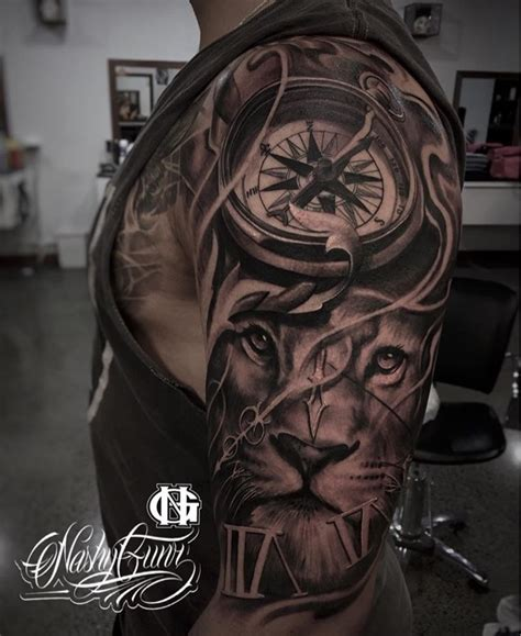 quarter sleeve tattoo length clock lion half sleeve inked pinterest half sleeves