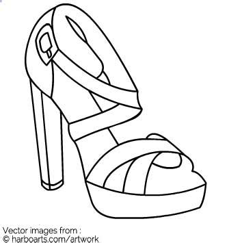 Download Block Heel Sandal Outline Vector Graphic Heel Design Template