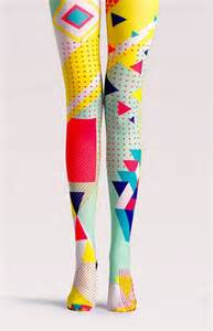 color tights geometric pattern neon color block pop tights