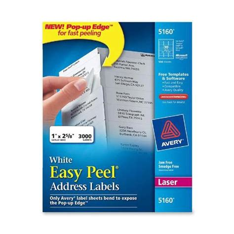 Easy Peel Labels Avery Template 5160 by Avery 5160 1 X 2 5 8 Quot White Easy Peel Address Labels