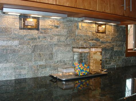 a stacked backsplash is a contrast with granite